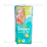 Picture of PAMPERS ACTIVE BABY VP - MIDI, sauskelnės, Nr. 3, 4 kg - 9 kg, 54 vnt.