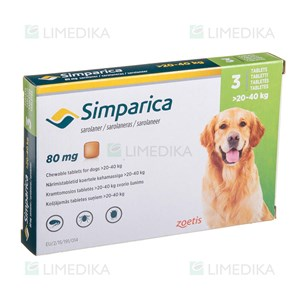 Picture of SIMPARICA 80mg 20-40kg N3 (Zoetis)