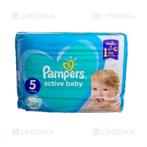 Picture of PAMPERS ACTIVE BABY DRY, sauskelnės, 5 dydis, 11-16 kg, 38 vnt.