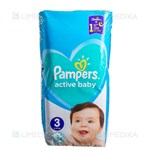 Picture of PAMPERS ACTIVE BABY, sauskelnės, 3 dydis, 6-10 kg, 54 vnt.