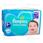 Picture of PAMPERS ACTIVE BABY DRY, sauskelnės, 4+ dydis, 10-15 kg, 40 vnt.