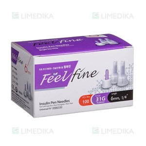 Picture of FEELFINE PEN, insulino adatos, 6 mm, 31G, 100 vnt.